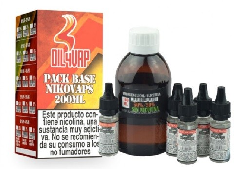 Pack Base y Nikovaps Oil4vap 50/50 6mg/ml (Total 200ml)